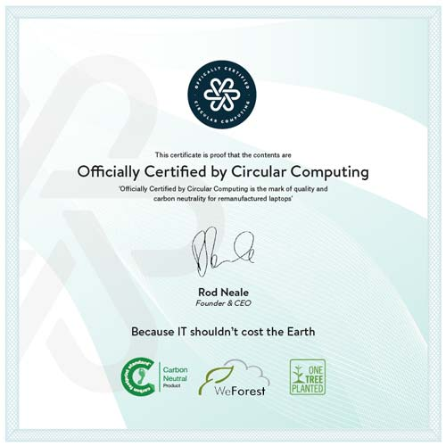Every Circular Computing Laptop comes with a certificate of authentication